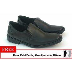 Sepatu Pantofel Pria - Polos - Warna Hitam - Free Kaos Kaki