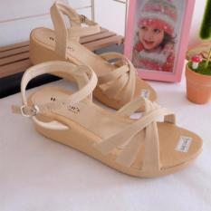 Sepatu Sandal Wedges Wanita - Krem