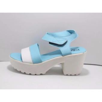 Sepatu Wanita Heels Sandal - Biru Putih