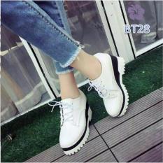 Sepatu Wedges Boots Docmart Wanita Putih - Grigor BS