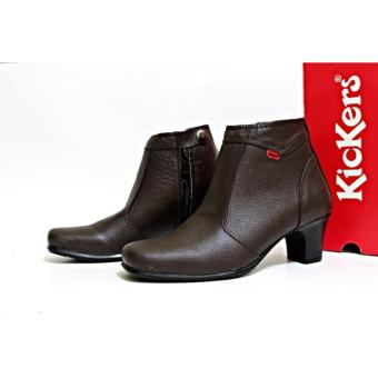 Sepatu Wedges Heels Pantofel Wanita Kulit Asli Kickers Zipper Formal Kerja Kantoran Slop Casual - Free