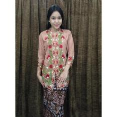 SETELAN Kebaya Bordir Bunga & Rok Katun Baju Batik Kutubaru Wisuda KBR010