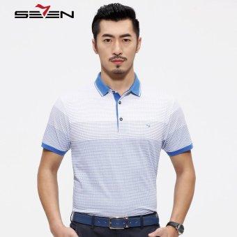 Seven Brand Cotton Men Stripe Polo Short Sleeve T Shirts Blue