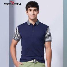 Seven Brand Men Polo Tshirt Slim Fit Short Sleeve T Shirts Dark Blue