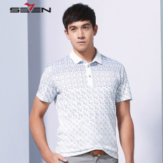 Seven Brand Summer Men Printed Polo Shirt Sportswear Male Tops Blue