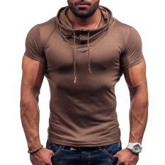 Sexy Men Slim Fit Short Sleeve Shirt With Hooded Solid Color Pile Collar Tops ϼ