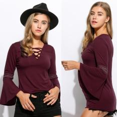 Sexy Women Lace Patchwork Hollow Out Flare Sleeve Lace Up V-neck Slim Fit Blouse - Intl