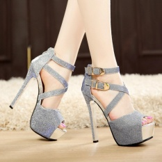 Sexy Women Pumps Platform Strappy sandals Stiletto High Heels Party Shoes Silvery - intl