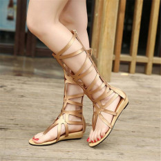 Sexy Women Strappy Open Toe Zipper Knee High Gladiator Sandals Boots Flat Shoes - INTL
