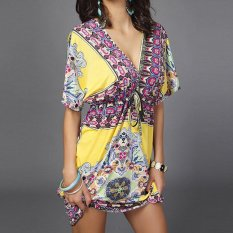 Sexy Women V-neck Silk One-piece Dress Holiday Beach Summer Flower Print Bathing Dresses - intl