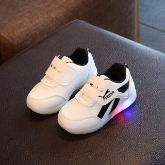shoes sports LED Flashing shoes children seven children sport breathable mesh shoes men and women - intl