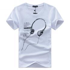 Shopaholic Kaos Katun Pria T-Shirt Headphone O Neck Size M - White
