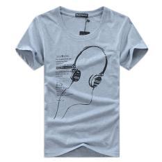 Shopaholic Kaos Katun Pria T-Shirt Headphone O Neck Size S - Gray