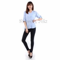 Shopping Yukz Kemeja Wanita Monica Salur - Biru