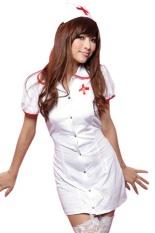 Stylish Shirt Collar Short Sleeve Button Design Women's Cosplay Costume