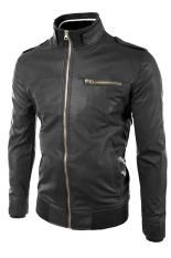 Sidnanes SlimFit Leather Jacket Casual Rib - Hitam