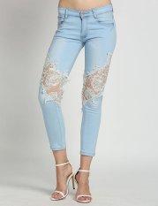 Simple Supreme Fashion Women's Slim Skinny Lace Crochet Stretch Denim Jeans Pants Trousers - Intl