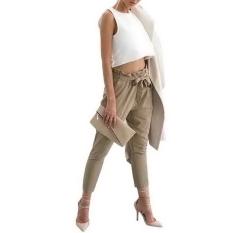 Simple Supreme Women Fashion Slim Elastic High Waist Solid Long Pencil Trouser Skinny Pants With Belt (Khaki) - Intl