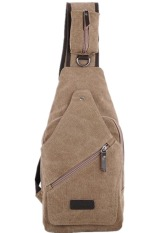 Sk Mall 018 Korean Style Canvas Man Shoulder Bags (Brown) - Intl