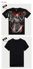 Skull Devil With Wings And Crossbones Printed Men's Round Neck Short Sleeve Fashion Black Men's T-shirt