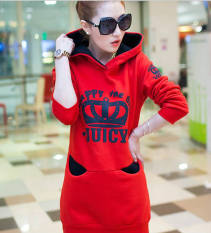Slim Thin Hooded Hedging Long Sweater Midi Dresses (Color:Red) - Intl