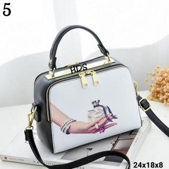 Sling Bag Korean Style Printing Square White Parfume/ Tas Selempang Wanita Korean Style - Multicolor