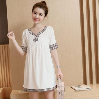 Small Wow Maternity Daily V-neck Stitching Contrast Color Linen Loose Above Knee Dress White