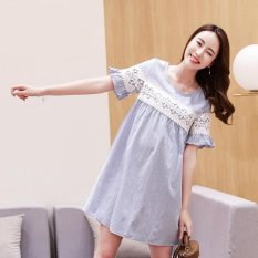 Small Wow Maternity Fashion Round Stitching Contrast Color Cotton Above Knee Dress Blue - intl