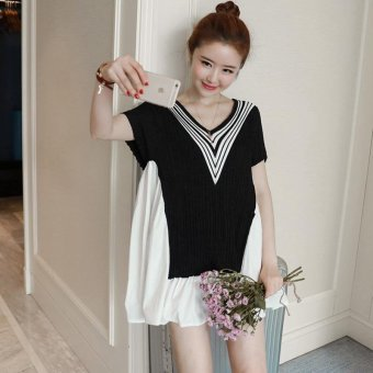 Small Wow Maternity Fashion V-neck Stitching Contrast Color Cotton Above Knee Dress Black - intl