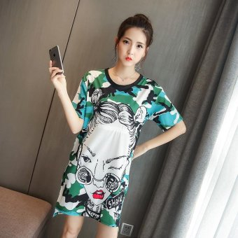 Small Wow Maternity Korean Round Print Linen Loose Above Knee Dress Multicolor - intl