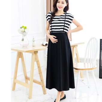 Small Wow Maternity Korean Round Stitching Contrast Color Cotton Loose Long Dress Black - intl