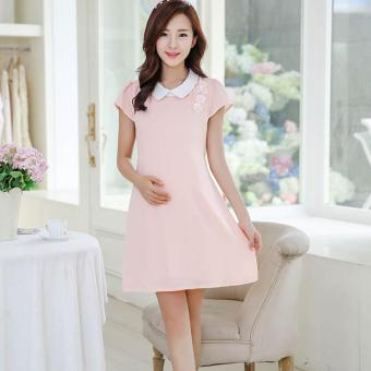 Small Wow Maternity Korean Turn-down Collar Solid Color chiffon Above Knee Dress Pink -