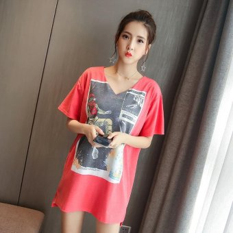 Small Wow Maternity Korean V-neck Print Cotton Loose Above Knee Dress Red - intl
