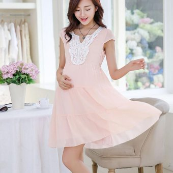 Small Wow Maternity Korean V-neck Solid Color chiffon Above Knee Dress Pink - intl