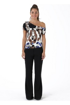Sook Woman Off Shoulder Top Abstract - Cokelat