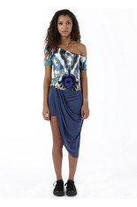 Sook Woman Off Shoulder Top Abstract - Torquise