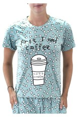 Sook Woman T-Shirt (Print First I Need Coffee) - Sea Green