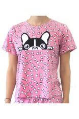 Sook Woman T-Shirt (Print Kepala Anjing) - Pink