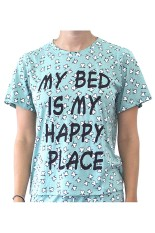 Sook Woman T-Shirt (Print My Bed Is My Happy Place) - Sea Green