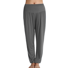 Sports Women Casual Sports Leisure Yoga Bloomers Harem Pants Solid Slacks Long Loose Trousers (Grey) (Intl) - Intl