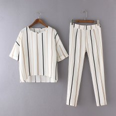 Spring And Summer Female Striped Short-sleeved Suits Shirt + Pants