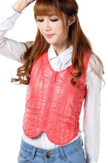 Spring Autumn Polka Dots Slim Down Jacket Vest (Red) (Intl)