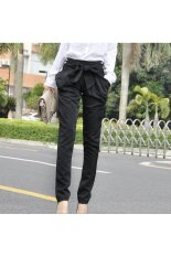 Spring Summer Women's Casual Slim Fit Skinny Bowknot Long Harem Pants Trousers - Size XL Black