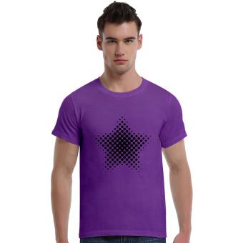 Star-Dotted Pattern Cotton Soft Men Short T-Shirt (Purple)