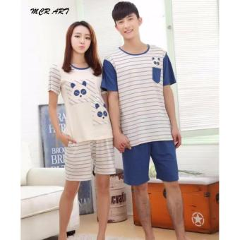 STCP31 - Setelan Couple Panda Pendek Stripe Blue