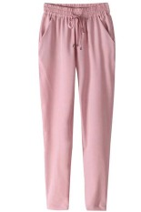 Stylish Elastic Waist Solid Colir Loose-Fittng Women's Harem Pants (Pink)