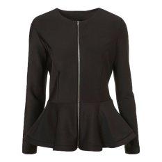 Stylish Ladies Women Casual Long Sleeve Zipper Solid Slim Ruched Coat Outwear Jacket Overcoat-black-M (EXPORT)