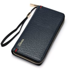 Stylish Men's Leather Zip Handbag Purse Wallet Card Holder Clutch Checkbook Clip Blue