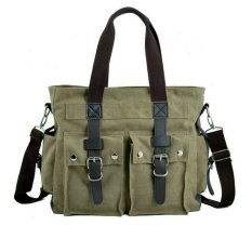 Stylish Multifunction Canvas Zipper Casual Bag Backpack Shoulder Bag Handbag School Bag Travel Bag Messenger Bag Daypack (Green)