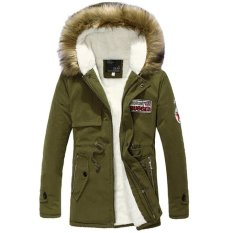 Stylish New Fashion Long Sleeve Men's Warm Hooded Parka Winter Thick Coat Outwear Jacket-green-S (EXPORT)